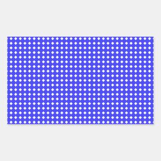 Cobalt Blue and White Little Diamonds Pattern Rectangular Sticker