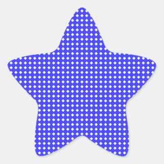 Cobalt Blue and White Little Diamonds Pattern Star Sticker