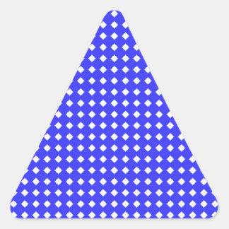 Cobalt Blue and White Little Diamonds Pattern Triangle Sticker