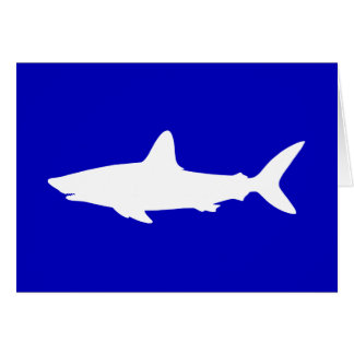Cobalt Blue and White Shark Silhouette Thank You Card