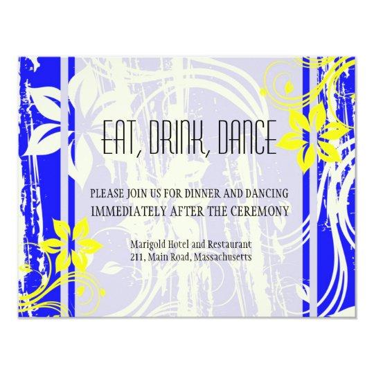 Cobalt Blue and Yellow Wedding Reception Card