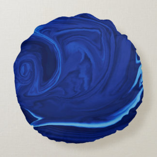 Cobalt blue background Textured Handmade Round Pillow