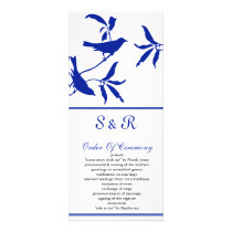 cobalt blue birds Wedding program