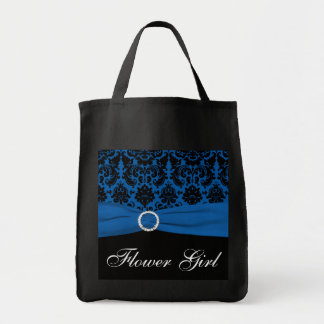 Cobalt Blue, Black Damask Flower Girl Tote Bag