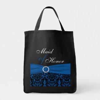 Cobalt Blue, Black Damask Maid of Honor Tote Bag