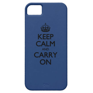 Cobalt Blue / Black Text Keep Calm And Carry On iPhone SE/5/5s Case