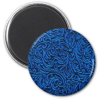 Cobalt Blue Black Vintage Tile Look Magnet