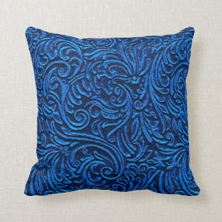Cobalt Blue Black Vintage Tile Look Rustic Home Throw Pillow