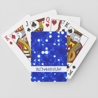 Cobalt Blue Bokeh Constellations Custom Name Poker Cards