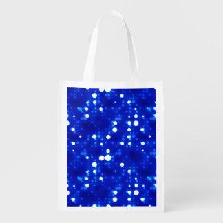 Cobalt Blue Bokeh Constellations Market Totes