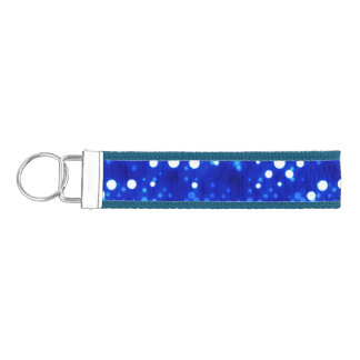 Cobalt Blue Bokeh Constellations Wrist Keychain
