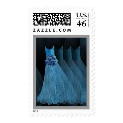 COBALT BLUE Bridesmaid Dresses SILVER Trim Stamp by JaclinArt