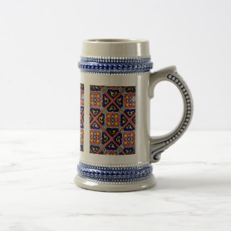 Cobalt Blue Burnt Orange Southwestern Tile Design Beer Stein