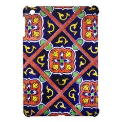 Cobalt Blue Burnt Orange Southwestern Tile Design iPad Mini Covers