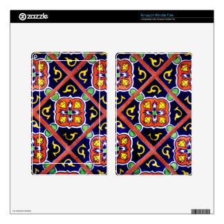 Cobalt Blue Burnt Orange Southwestern Tile Design Kindle Fire Decals