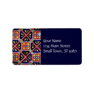 Cobalt Blue Burnt Orange Southwestern Tile Design Personalized Address Label