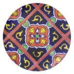 Cobalt Blue Burnt Orange Southwestern Tile Design Party Plate