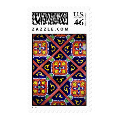 Cobalt Blue Burnt Orange Southwestern Tile Design Postage Stamps