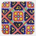 Cobalt Blue Burnt Orange Southwestern Tile Design Sticker