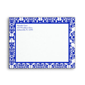 Cobalt Blue Damask Envelope for Thank You Note