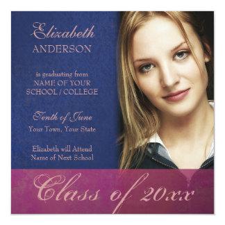 Cobalt Blue Damask Grunge Graduation Announcement