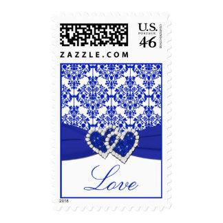 Cobalt Blue Damask Love Postage