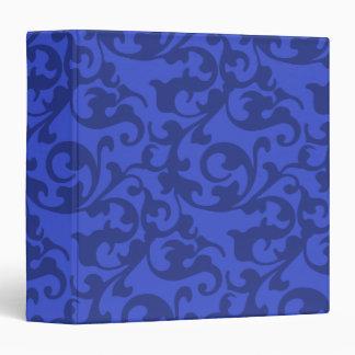 Cobalt Blue Damask Swirls 3 Ring Binder