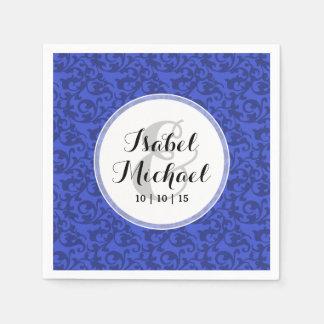 Cobalt Blue Damask Swirls Paper Napkin