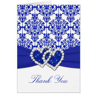 Cobalt Blue Damask Thank You Note Card