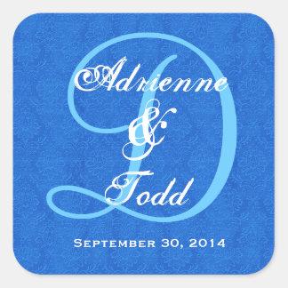 Cobalt Blue Damask Wedding Monogram D323 Square Sticker