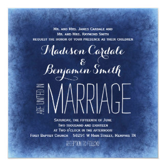 Cobalt Blue Distressed Rustic Wedding Invitations