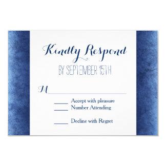 Cobalt Blue Distressed Rustic Wedding RSVP Cards