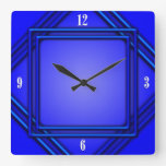 Cobalt Blue Double Frame 4 White Numbers Square Wallclock