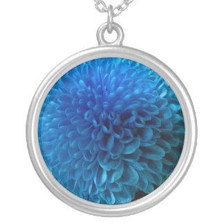 Cobalt blue flower macro necklace / pendant