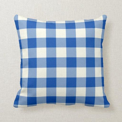 Cobalt Blue Gingham Throw Pillow Zazzle