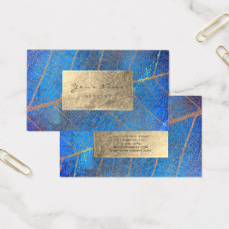 Cobalt Blue Gold Sapphire Sepia Foil Botanical Business Card