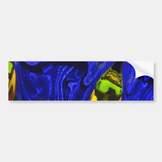 Cobalt Blue Green Yellow Abstract Neon Art Design Bumper Sticker