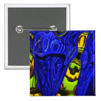 Cobalt Blue Green Yellow Abstract Neon Art Design Pins