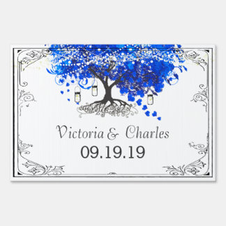 Cobalt Blue Heart Leaf Tree Personalized Lawn Sign