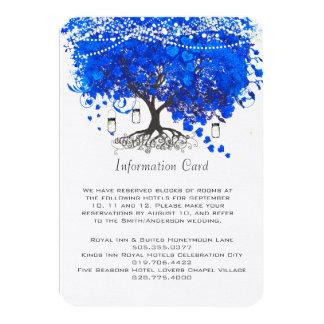 Cobalt Blue Heart Leaf Tree Wedding 3.5x5 Paper Invitation Card