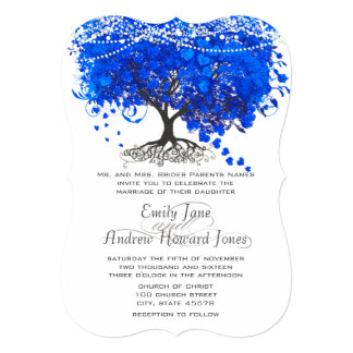 Cobalt Blue Heart Leaf Tree Wedding Card