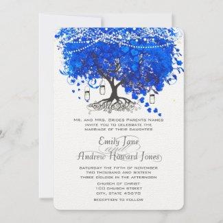 Cobalt Blue Wedding Invitation with  Heart Leaf Tree