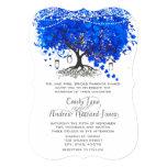 Cobalt Blue Heart Leaf Tree Wedding Invitations
