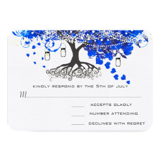 Cobalt Blue Heart Leaf Tree Wedding Invites