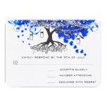 Cobalt Blue Heart Leaf Tree Wedding Invites