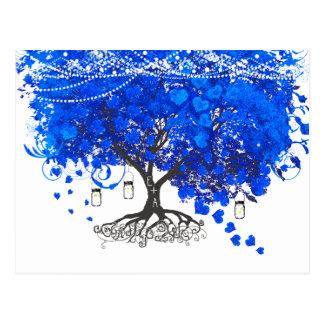 Cobalt Blue Heart Leaf Tree Wedding Invites Postcards