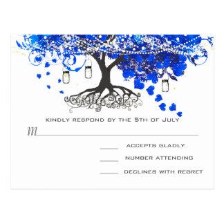 Cobalt Blue Heart Leaf Tree Wedding Invites Postcard