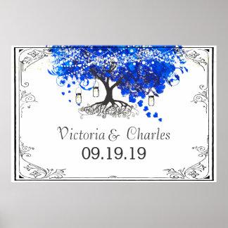 Cobalt Blue Heart Leaf Tree Wedding Poster