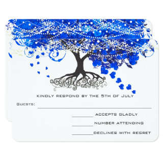 Cobalt Blue Heart Leaf Tree Wedding RSVP Card