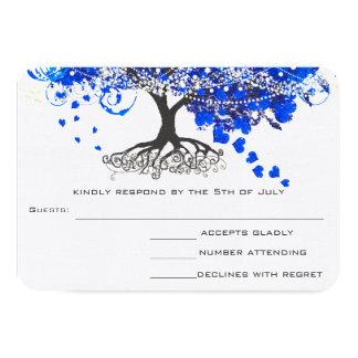 Cobalt Blue Heart Leaf Tree Wedding RSVP Card